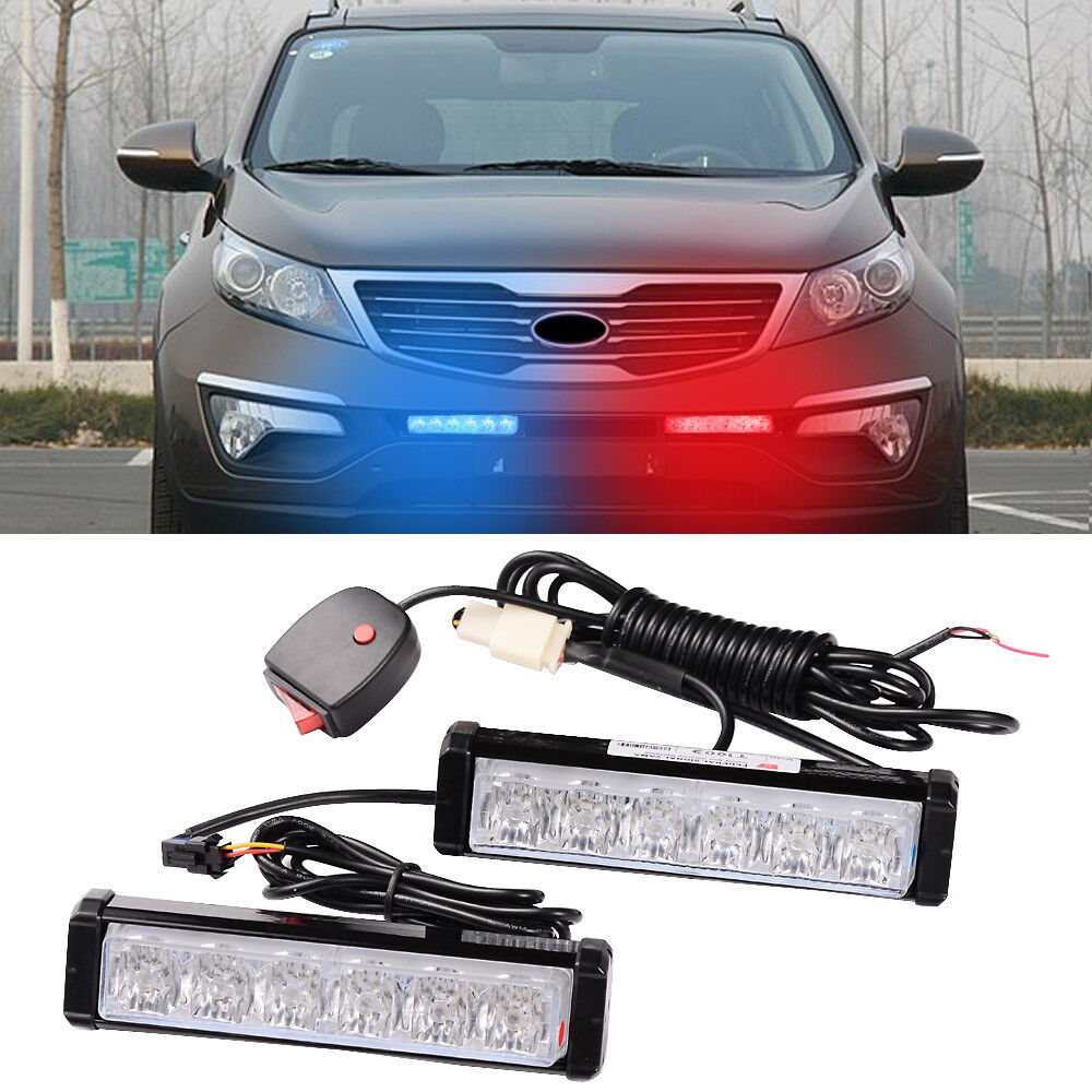 1 Kit Led Car Truck Red Blue Warning Emergency Beacon