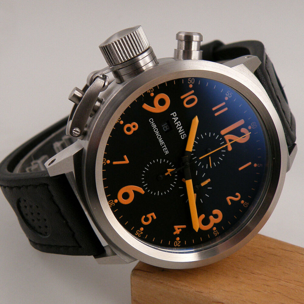 50mm parnis orange number big black mens quartz