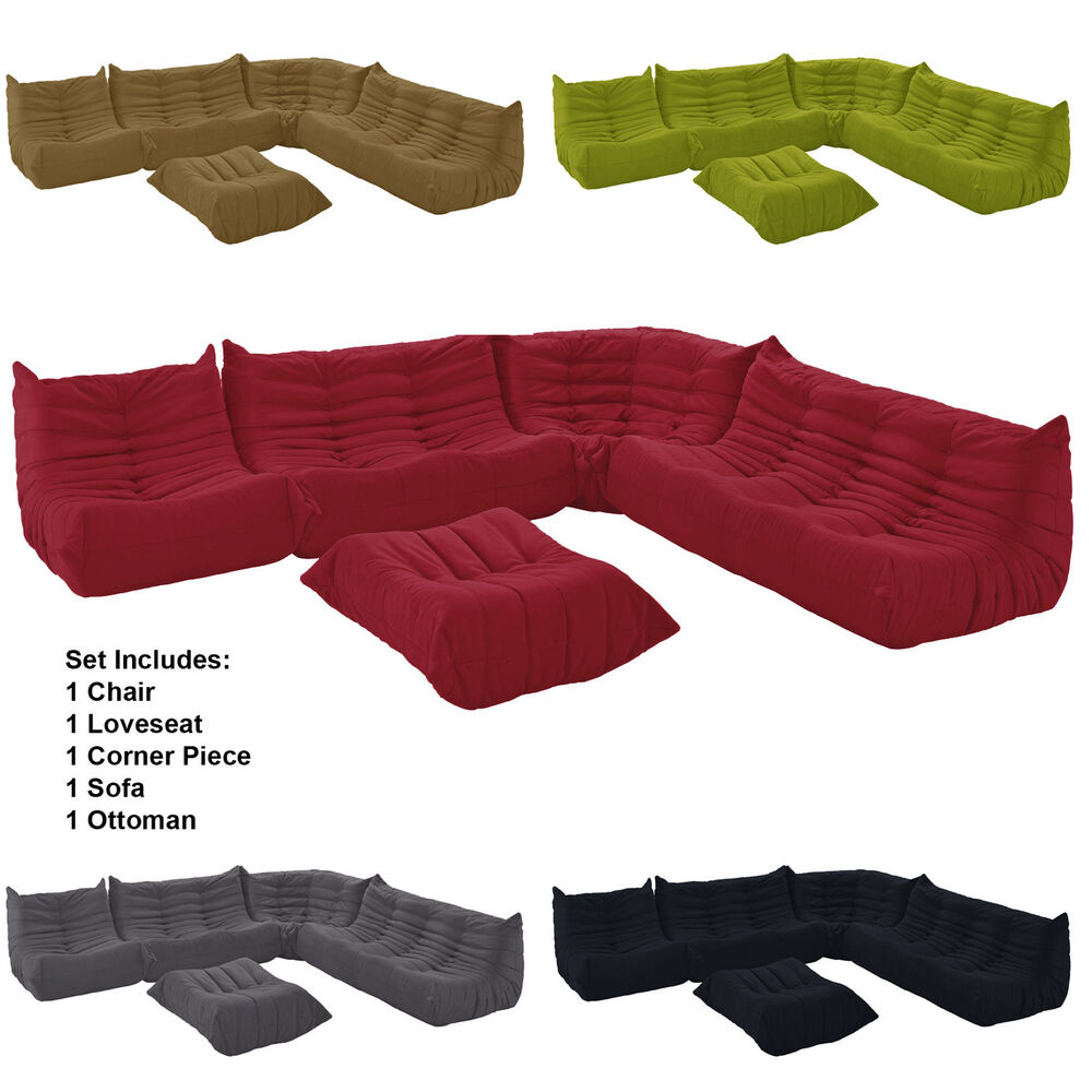 Downlow Sectional Set 5 Piece Set Sofa Loveseat Corner