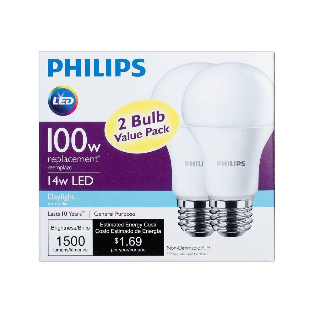 2x 14w philips led 100w equivalent daylight 5000k a19 bulb e26 base 1500 lumens ebay. Black Bedroom Furniture Sets. Home Design Ideas