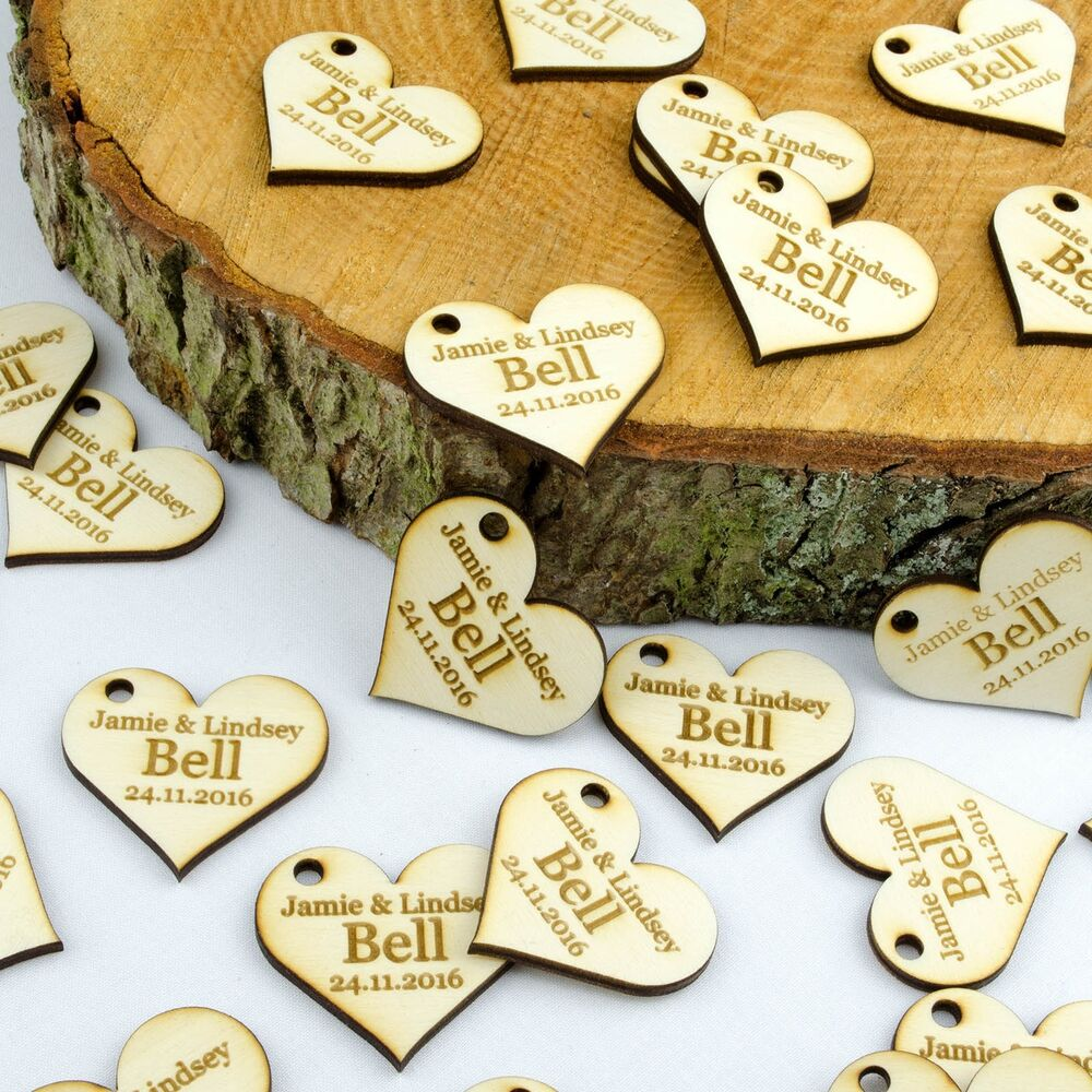 Personalised 4cm Wooden Love Heart Wedding Favours ...
