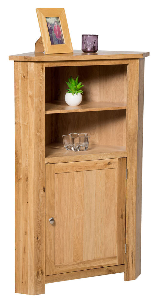 Tall Oak Corner Storage Cupboard Low Cabinet With Shelf