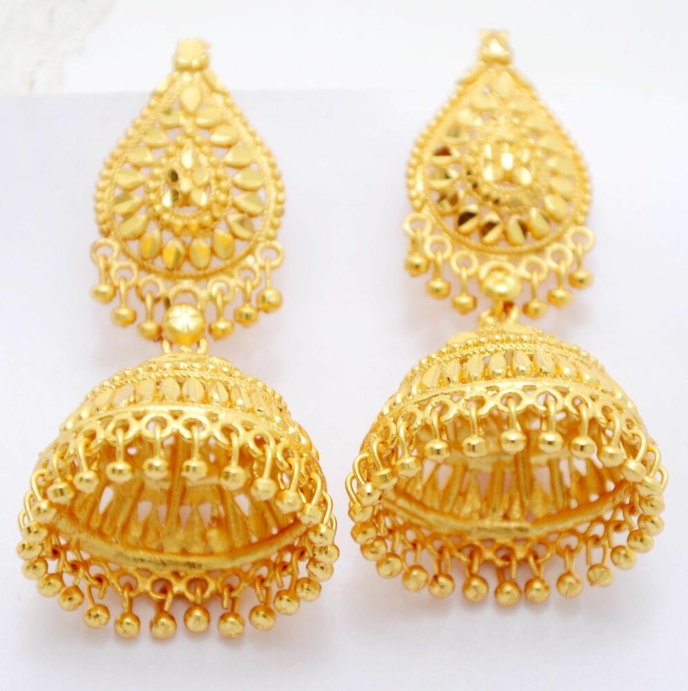 Gold Plated Necklace Earrings Set Indian Traditional: 24k Gold Plated Traditional South Indian Earrings Jhumka