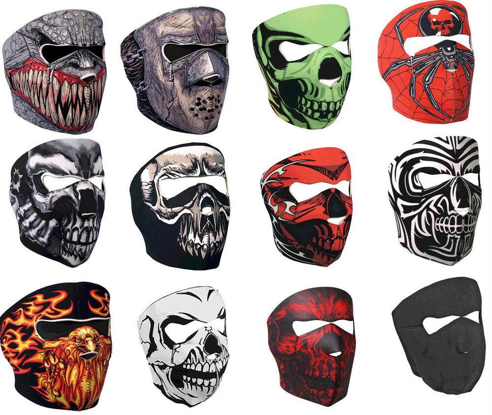 Full Motorcycle Helmet >> NEOPRENE SKULL FULL FACE REVERSIBLE MOTORCYCLE MASK | eBay