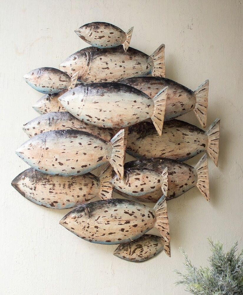 Recycled Painted Metal School Of Fish Wall Decor Hanging ...