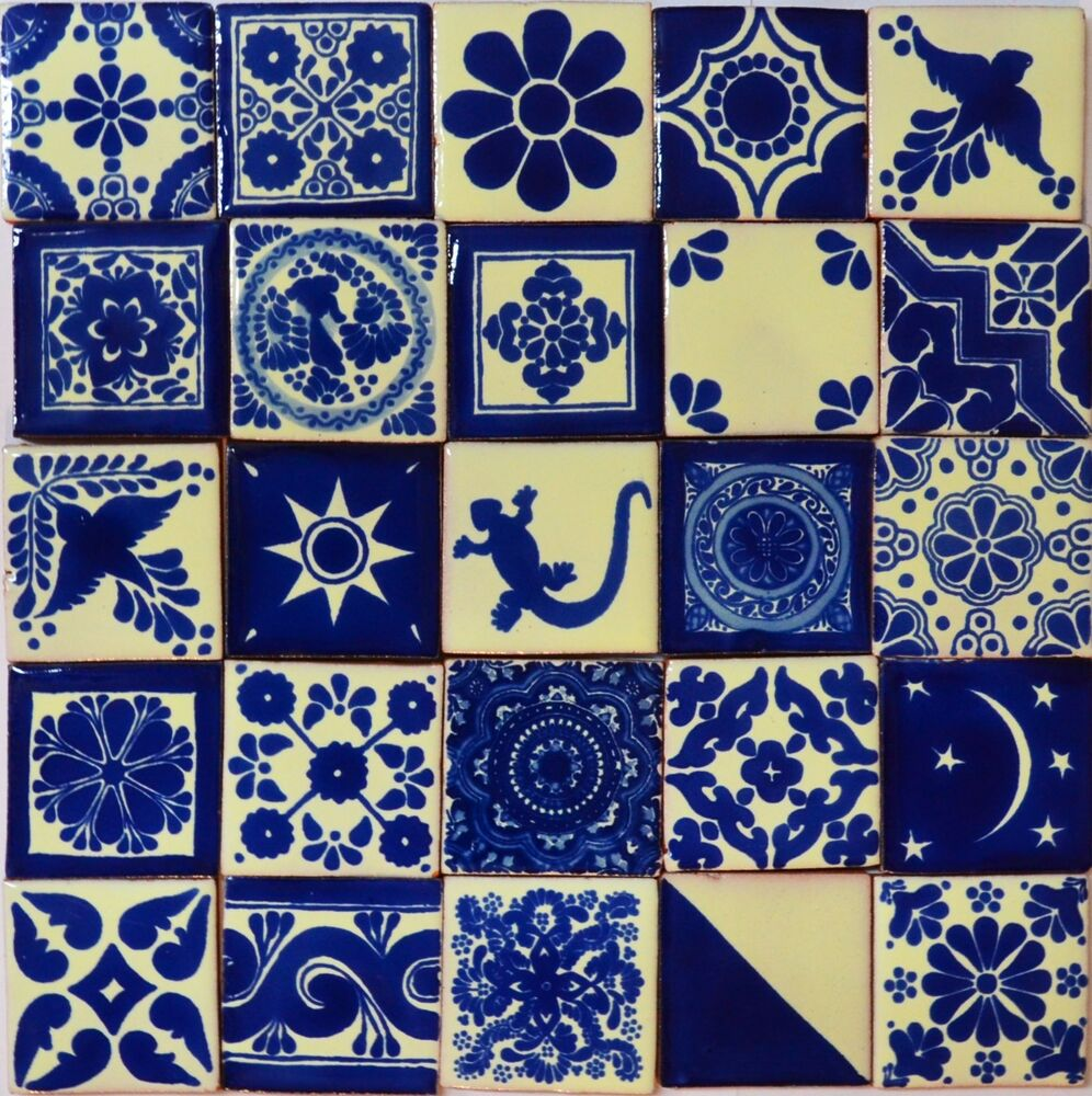 100 mexican talavera tile 2x2 folk art blue white for Azulejo de talavera mexico