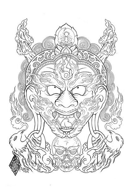 Tattoo Line Drawing Books : Tibetan buddhism tattoo flash line drawing book b digita