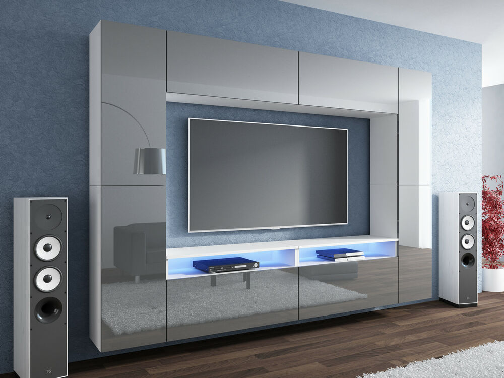 neuheit wohnwand grau hochglanz wei mediawand led concept modern ebay. Black Bedroom Furniture Sets. Home Design Ideas