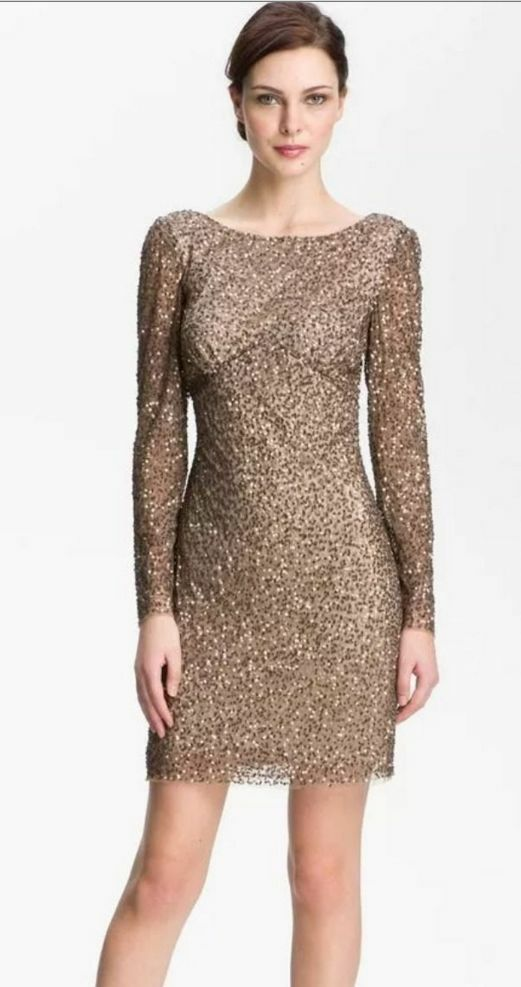 Adrianna Papell Brown Gold Sequin Embellish Dress Long