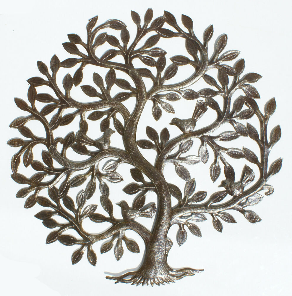 metal tree of life decor haitian metal wall art wall decoration oil drum art 24 ebay. Black Bedroom Furniture Sets. Home Design Ideas