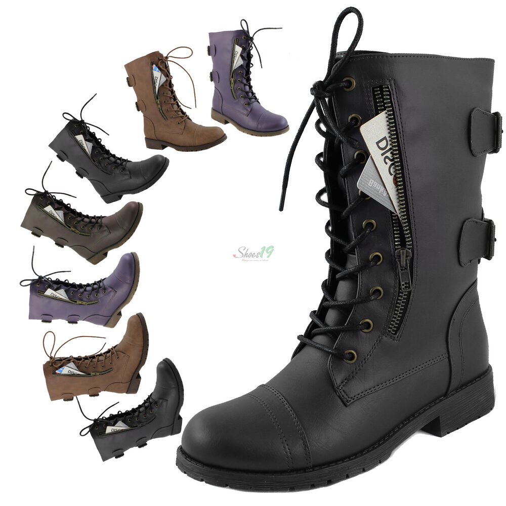 Women's Military Combat Lace Up Ankle High Boots Credit Card ...