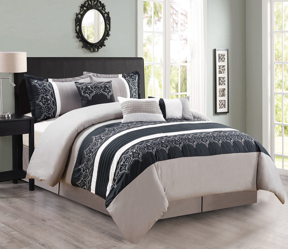 7 piece gray black white comforter set ebay. Black Bedroom Furniture Sets. Home Design Ideas