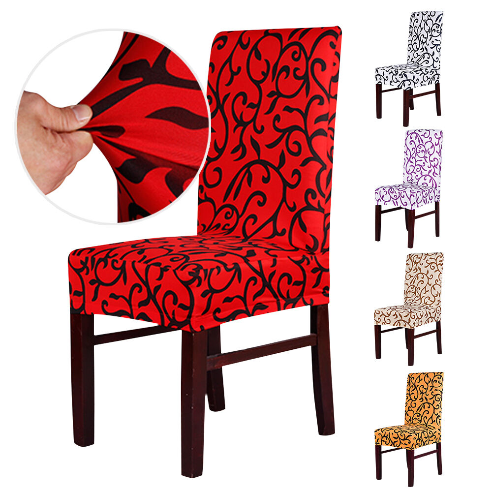 2 4 6 pcs removable stretch slipcovers short dining room stool seat chair cover ebay. Black Bedroom Furniture Sets. Home Design Ideas