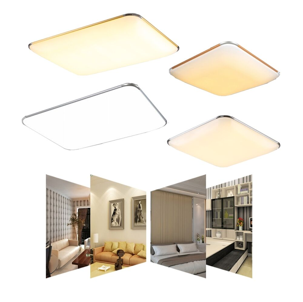 led ultraslim deckenleuchte k che panel lampe dimmbar badleuchte flurleuchte ebay. Black Bedroom Furniture Sets. Home Design Ideas