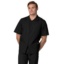 Adar Men Short Sleeve Medical Scrub Doctor Nursing Front Zipper Scrub Jacket