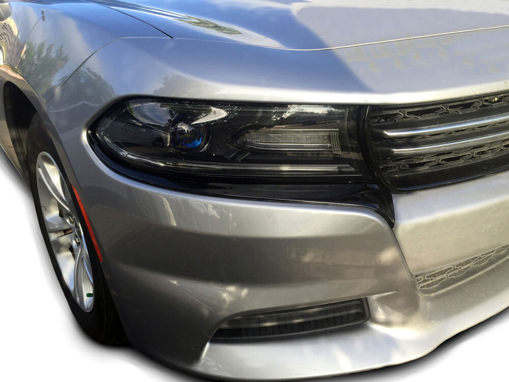 2015 2016 2017 dodge charger headlight accent fascia blackout overlays decals ebay. Black Bedroom Furniture Sets. Home Design Ideas