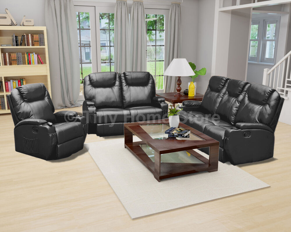 luxury leather cinema recliner sofa 3 2 1 settee suite arm chair lazy boy ebay. Black Bedroom Furniture Sets. Home Design Ideas
