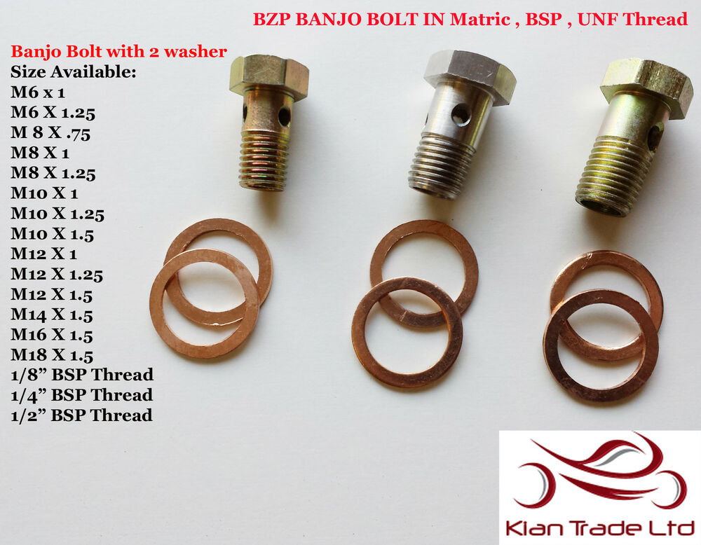 Metric banjo bolt fuel brake hydraulic fitting tail line