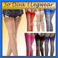 Burlesque, retro, nylon seamed stockings inlcuding neon colours up to size XL