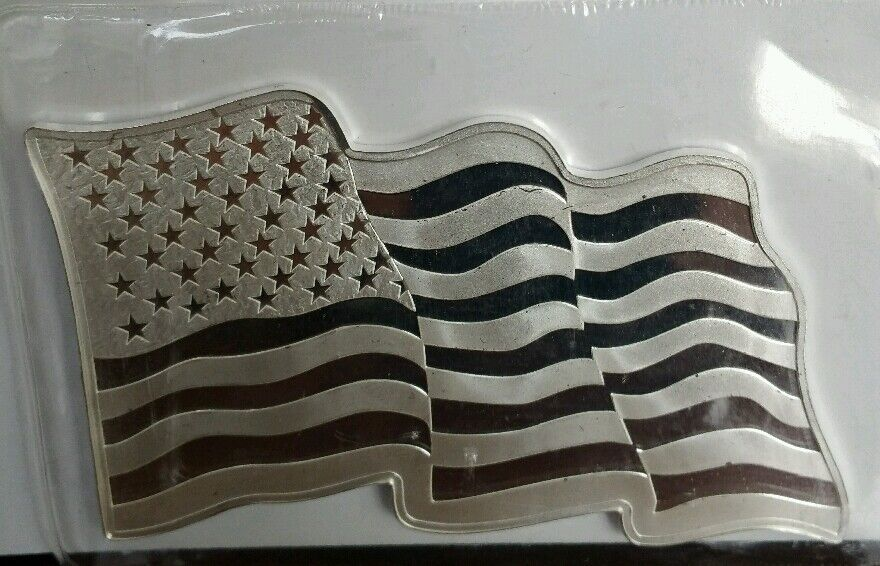 1 Oz 999 Silver American Flag Unique Wavy Art Bar Old
