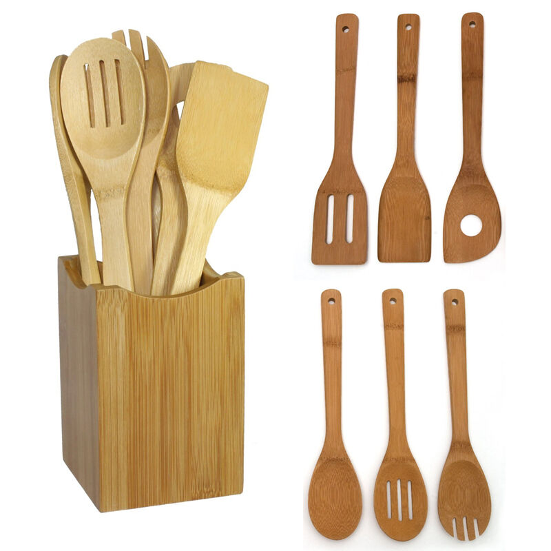 Set Of 6 Bamboo Wood Kitchen Tools Spoons Spatula Wooden ...