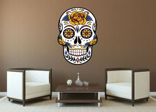 MEXICAN SUGAR SKULL TATTOO DESIGN ROSE CALAVERA WALL STICKER decal art 5 sizes
