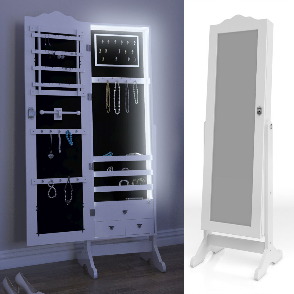 Mirrored Cabinet Jewellery Cabinet Standing Mirror White