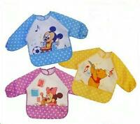 Disney Baby Long Sleeve Waterproof Bib Apron Winnie the pooh Minnie Mickey Mouse