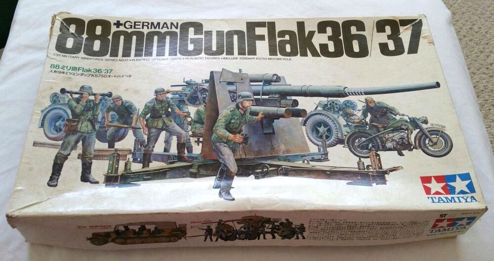 German 50 Mm Anti Tank Gun: VINTAGE 1/35 SCALE MODEL TAMIYA 88MM GUNFLAK 36/37 GERMAN