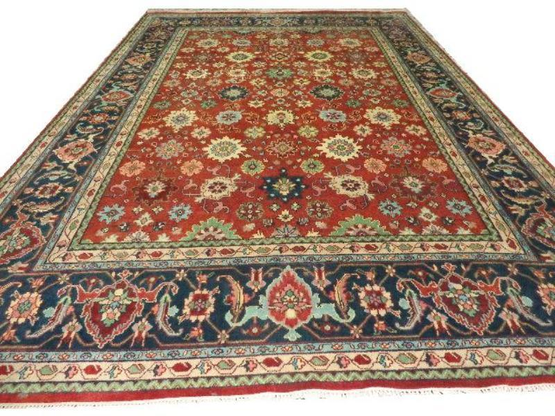 Red Blue Floral Handmade Traditional Serapi 12x18 10x14
