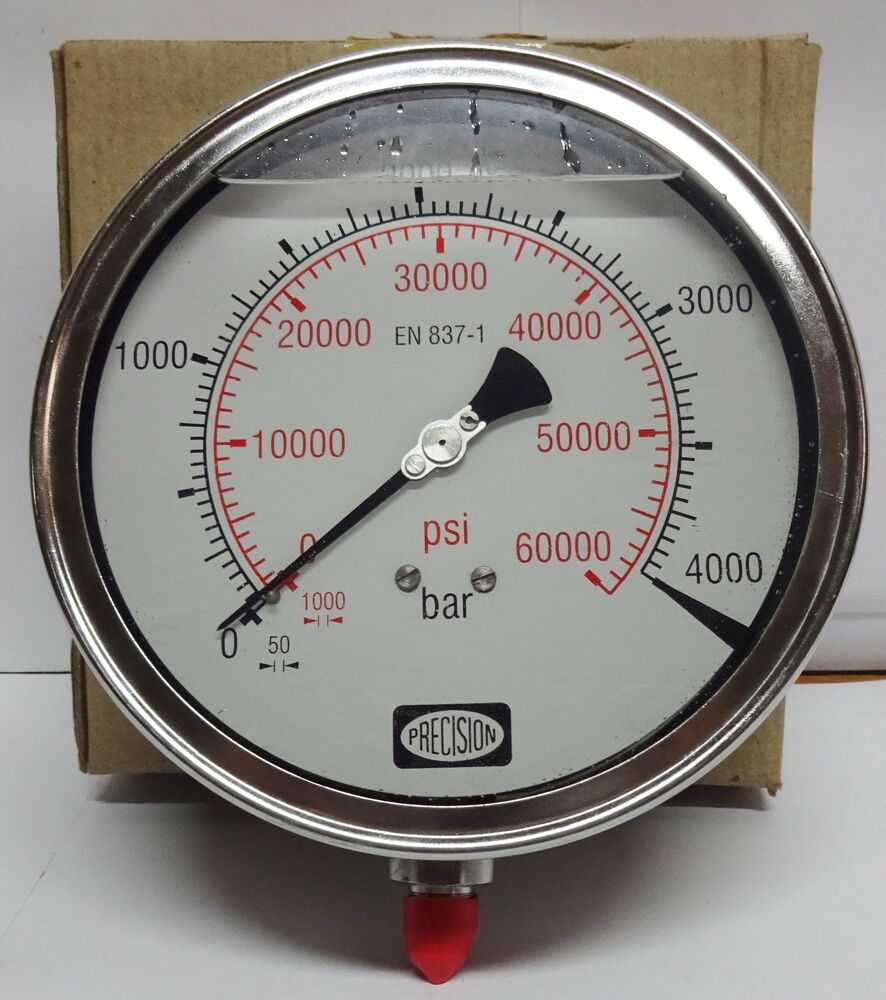 High Pressure Meter : High pressure gauge bar psi gly filled ss