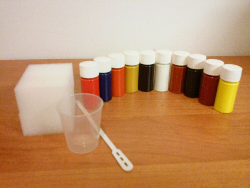 10 ml leather dye pigment paint car furniture kit primary colours ebay. Black Bedroom Furniture Sets. Home Design Ideas
