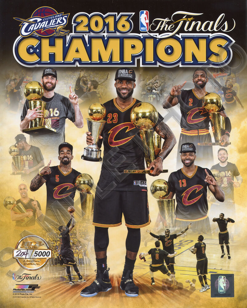 CLEVELAND CAVS 2016 NBA CHAMPIONS TEAM COMPOSITE 8X10 GOLD