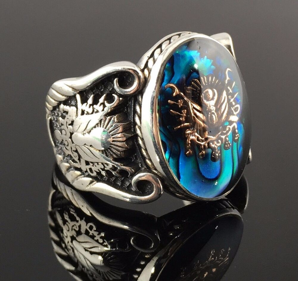 Mens Gold Silver Tourquoise Eagle Rings