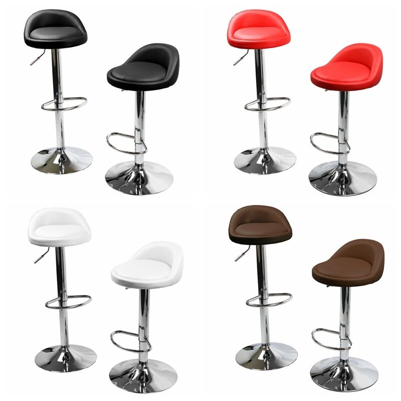 1 Pair Leather Metal Bar Stools Swivel Dining Counter