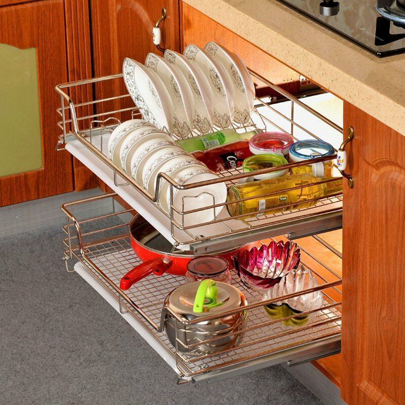 kitchen cabinet organizer racks kitchen pantry pull out sliding shelf basket drawer 19206