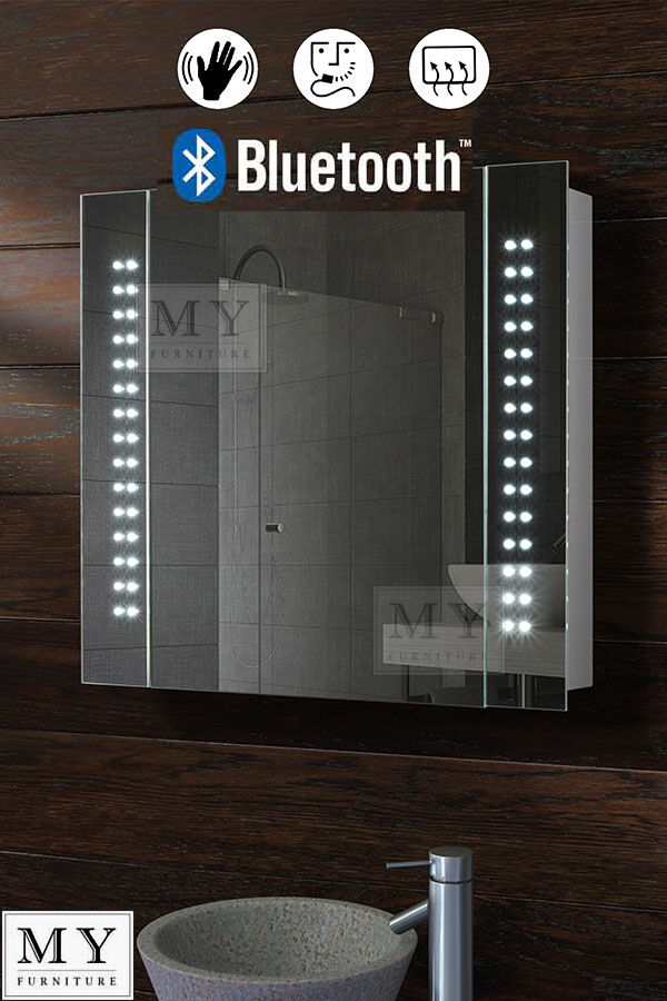60 Led Bathroom Mirror Cabinet Bluetooth Shaver Demister
