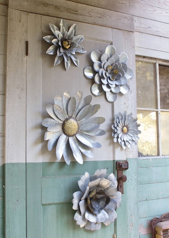 5 galvanized metal flower wall art sculptures indoor for Outdoor metal wall art
