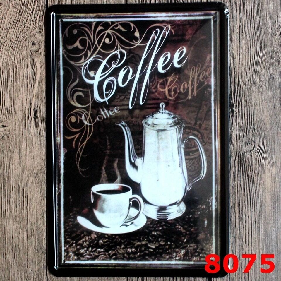metal tin sign coffee decor bar pub home vintage retro poster cafe art ebay. Black Bedroom Furniture Sets. Home Design Ideas