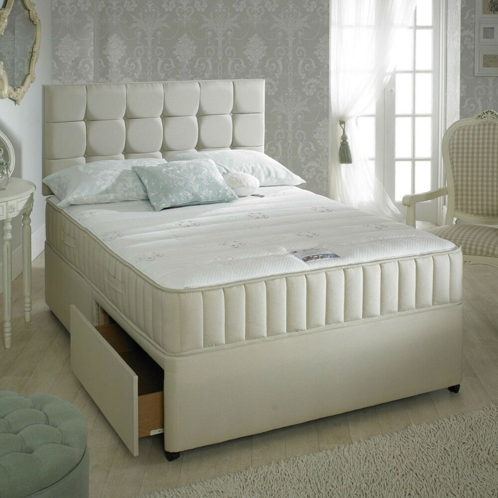 Stone divan bed set memory mattress headboard 3ft 4ft 4ft6 double 5ft ebay Divan double bed with mattress
