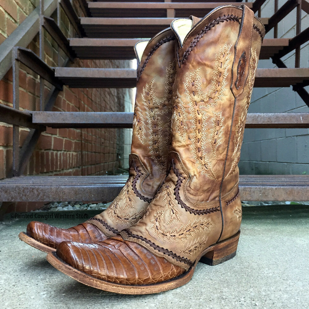 Corral Men S Tan Caiman Belly Narrow Square Toe Boots