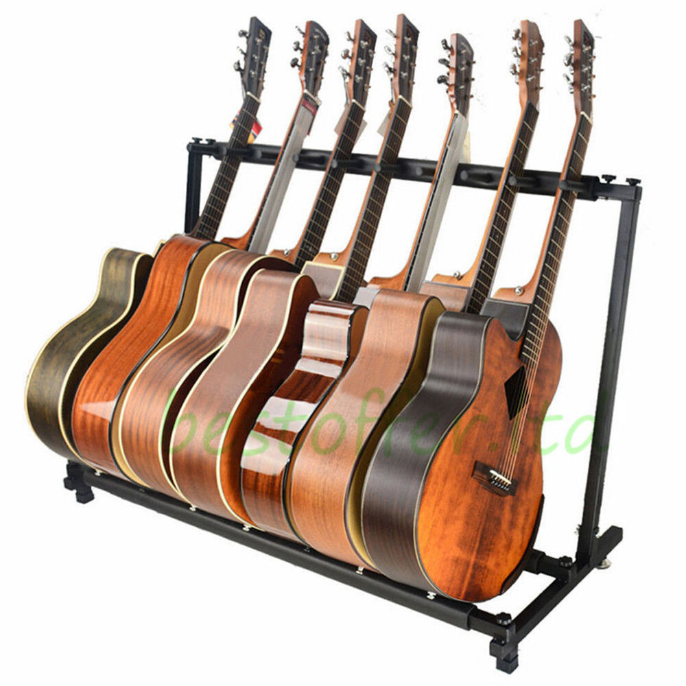 7 guitar stand multiple seven instrument display rack folding padded organizer ebay. Black Bedroom Furniture Sets. Home Design Ideas