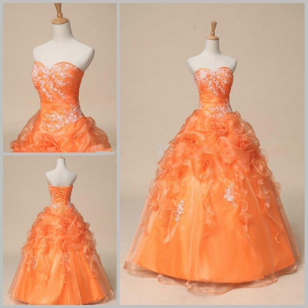 Cheap formal orange prom party bridesmaid dresses ball for Ebay cheap wedding dress