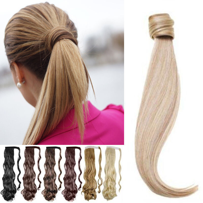 Real Clip in Hair Extensions Wrap Around Ponytail As Human