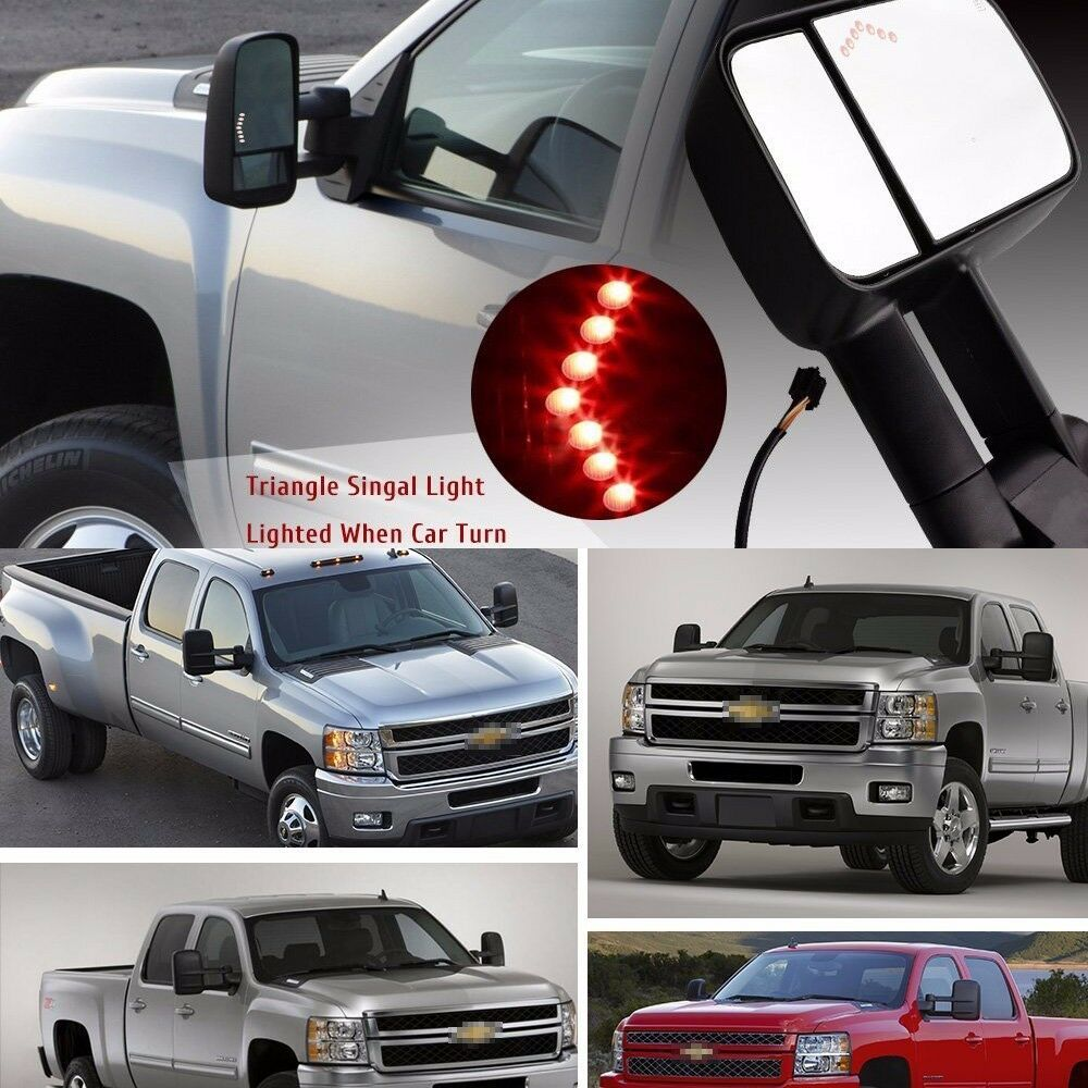 pair power led signal towing mirrors for chevy silverado 1500 2500 2500hd 07 13 ebay. Black Bedroom Furniture Sets. Home Design Ideas