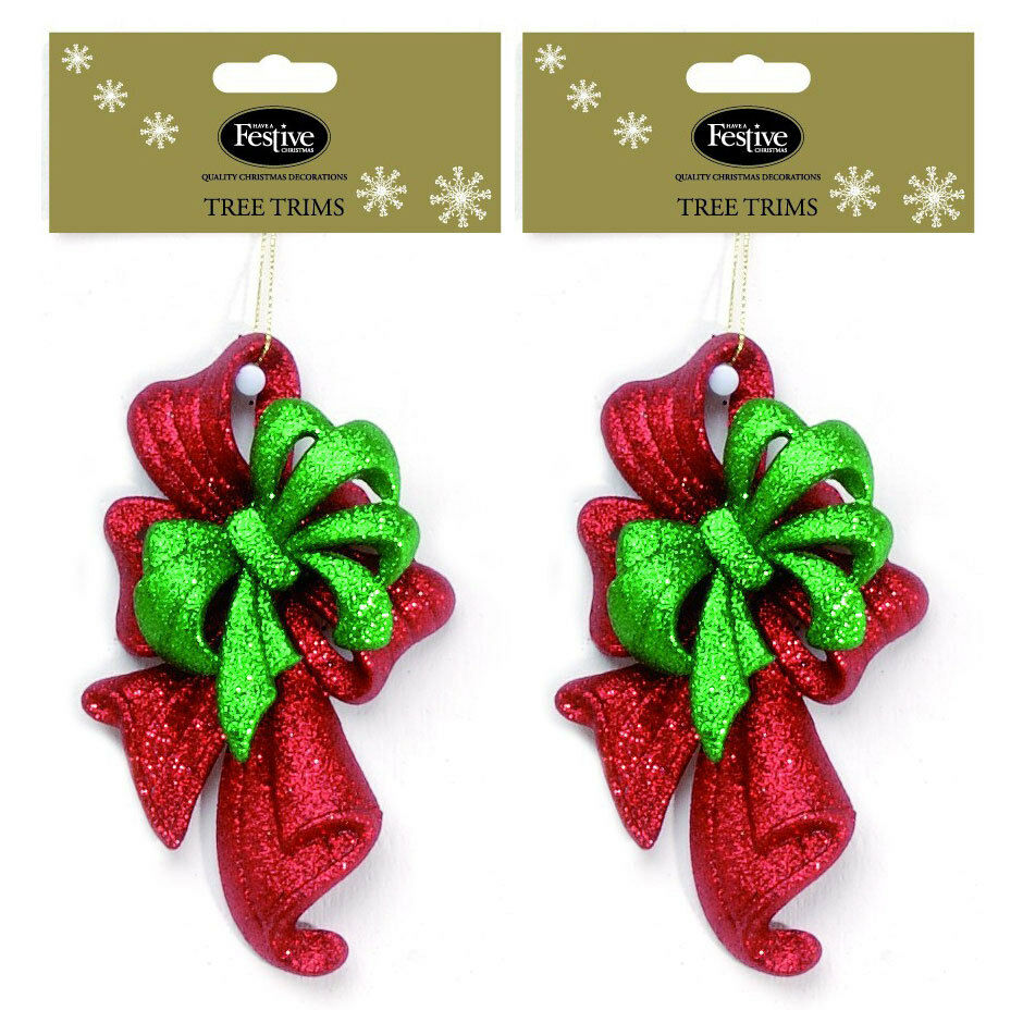 Red Glitter Christmas Tree Decorations : Festive glitter bows christmas tree decorations in green
