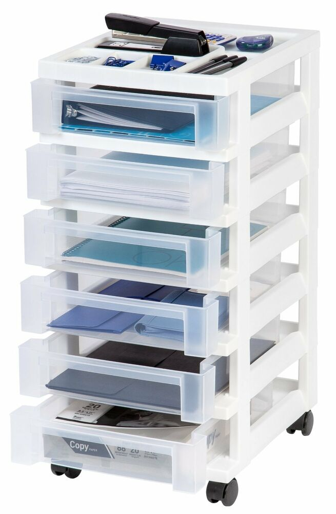 6 drawer plastic rolling storage cart w organizer top for Rolling craft cart with drawers