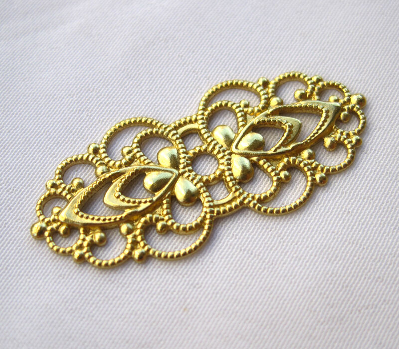 flower filigree raw brass findings jewelry making