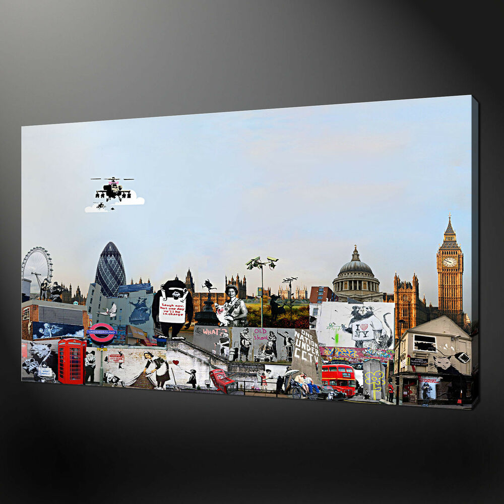 Details about banksy london collection graffiti urban canvas picture wall art free uk pp