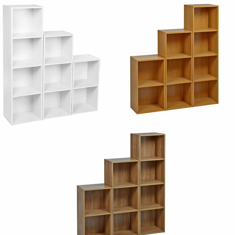 Multiple Tier Wooden Bookcase Shelving Display Shelves